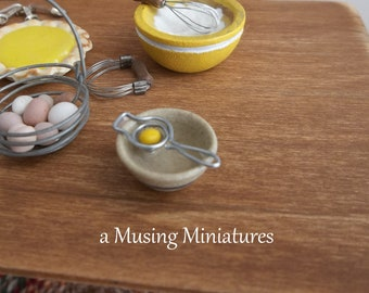 Egg Separator with Jane Graber Bowl in 1:12 Scale for Dollhouse Miniature Kitchen Bakery