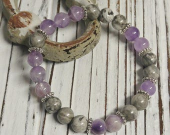 Amethyst and Fancy Jasper Stone Bracelet, Meditation, Stackable, Stretch Bracelet, Boho, Natural Stone