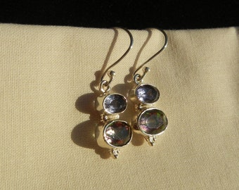Silver earrings, Topaz, Mystic Rainbow