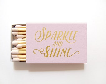 Sparkle and Shine Matchboxes Wedding Favors - Foil Stamped Personalized Matches Rehearsal Dinner Bridal Shower Custom Matchbox Colors