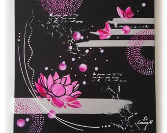 Pink, white and silver FLOWER on black 50 x 50 cm of lotus flower, butterfly painting modern abstract contemporary painting