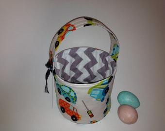 Reversible Fabric Easter Basket in Peak Hour - Cars and Trucks - Boys