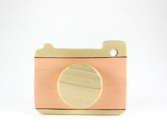 wooden camera toy, pretend play camera, wood toddler toys, waldorf toys