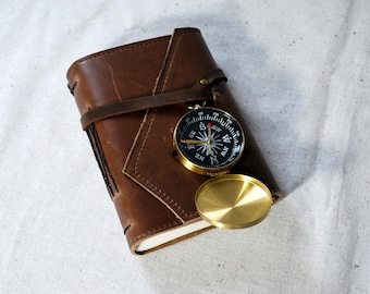 Small Light Oak Leather Journal with Compass