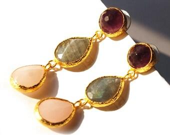 Three Stones Earring with Pink Quartz, Purple Amethyst and Grey Labradorite Stones, Amethyst earrings, long amethyst earrings, labradorite