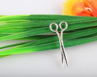 10pcs Scissor Shears 3D Tibetan Silver Pendant Charms, Scissor Charms, Scissor Pendants, Sewing Charm 16mm x42mm
