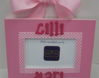 Single Hanging Frame w Name  - Gingham, Damask or Solid to match decor