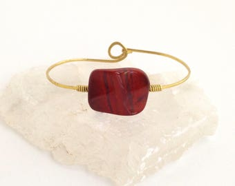 Red Jasper Bangle/Cuff - Brass Bracelet, Forged Metal, Hammered, Wire Wrapped