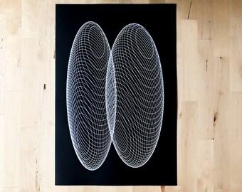 Geometric Screen Print Art Black and White