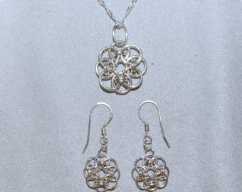 Handmade Sterling Pendant and Earrings, Helm Chain