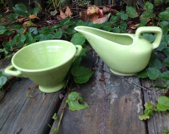 Lime Sherbet Colored Retro Cream and Sugar Bowl Set Mint Cream and Sugar Set, Pastel Green
