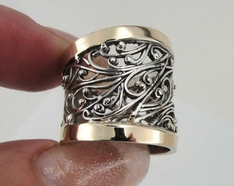Great Handcrafted 9K Yellow Gold Sterling Silver Ring size 7 (s r1130)
