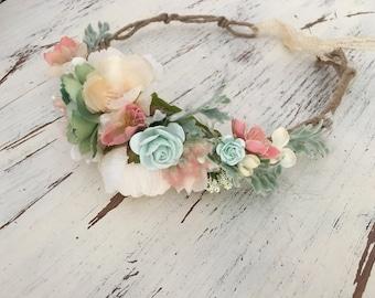 Mint flower crown- Flower crown-  Well dressed wolf- Floral crown- Bridal Blush Crown- Flower Girl