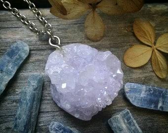 Lilac druzy cluster necklace