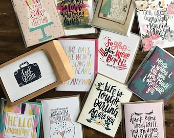 YOU PICK 6 - any KGD greeting cards - perfect for significant others, sentiments, family, friends, teachers, co-workers, kids, birthday