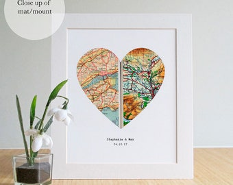 Engagement Gift, Heart Map Print,Personalize Map, Heart Map, Wedding Gift Heart Map, First Anniversary, Custom Map Art, Gift for Couple