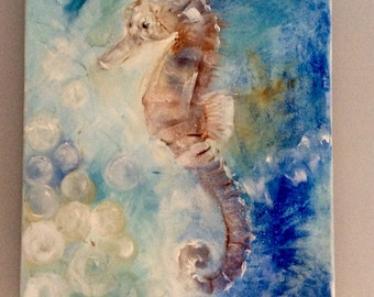 """Pale Blue Seahorse Oil on Canvas Painting 10x12"""""""
