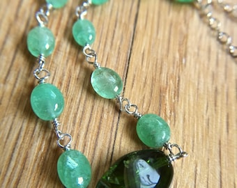 Emerald and Chrome Diopside Necklace