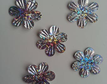 lot de 5 sequins fleurs 35mm argent à reflets
