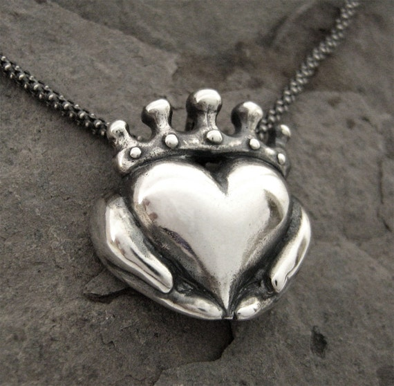 Claddagh necklace ready to ship sterling claddagh promise aloadofball Image collections