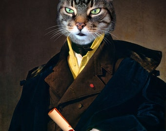 Cat Lover Gift Cat Artwork Old Painting Noble Animals in Clothes Animal Poster Wall Art Tabby Cat Pet Portraits Print - Lord Stripey Neel