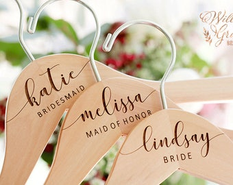 Bridesmaid Gift - Bridesmaid Hangers - Wedding Hanger - Personalized Engraved For You