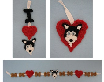 Crochet Pattern - Husky Ornaments and Garland Crochet Pattern - Dog Ornament Pattern - Christmas Pattern - Digital Download