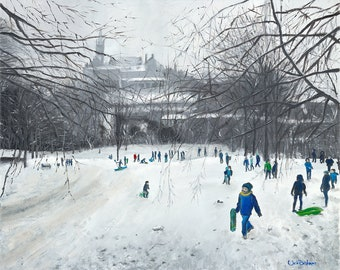 Snowy Kelvingrove from the Hill. A painting from Kelvingrove Park in Glasgow including Glasgow University in the background