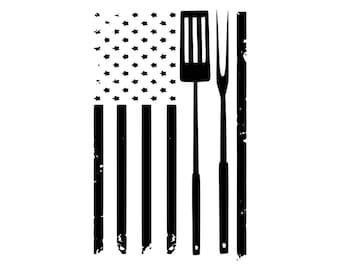 Digi-tizers BBQ American Flag Rugged (SVG Studio V3 JPG)