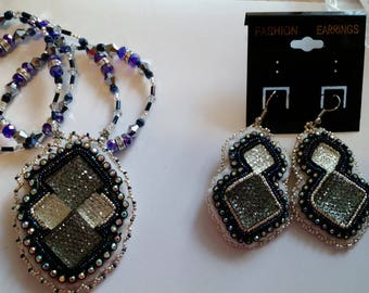 Beaded black and silver necklace & earring set