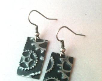 Black Patina Gear Embossed Steampunk Earrings