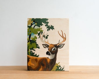 """Paint by Number Deer, 'Young Buck' Art Block, 8"""" x 10"""", Vintage Art, Woodland Wall Decor"""