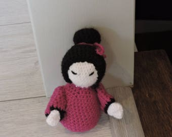 Hand made crochet Kokeshi doll