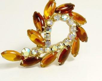 Vintage Rhinestone Swirl Brooch Amber & Borealis Rhinetsones
