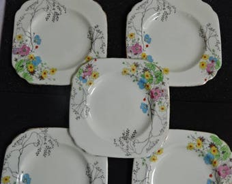 A Set of 5 Plant Tuscan China Tea-Side Plates/Square/Fine Bone China/Floral/Handpainted/Vintage/1930s