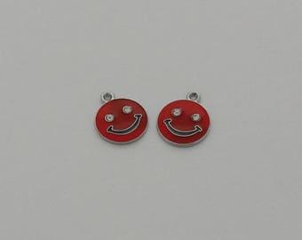 1 pendant red enamel face with Rhinestones - Ref: EP. 786