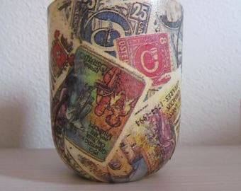 Vintage Post Stamp Multiuse Glass Container