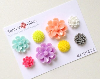 Resin Flower Magnets - Oasis colors - Rare Earth Magnets- Set of 8