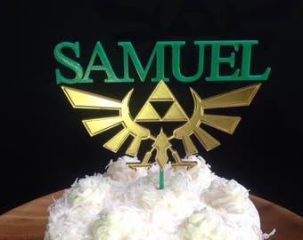 Custom Legend of Zelda Hyrule Crest Triforce Cake Topper