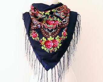 Autumn fall scarf dark Navy blue floral russian scarf ukrainian shawl Floral fringe scarf Womens shawl Wrap shawl Tassel scarf Tasseled wrap