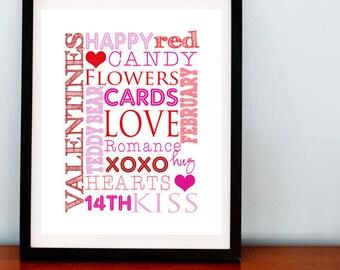 SALE.. Valentines Day Subway Art Print, Font Print, Happy Valentines Day - 8x10