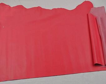 Half skin of dark pink cowhide leather