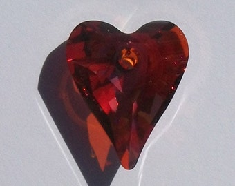 Swarovski Elements Crystal Pendant crystal Wild HEART Pendant Style 6240 RED MAGMA - Available in 12mm, 17mm, 27mm