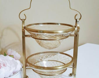 Tiered Centerpiece Wedding Centerpiece Vintage Wedding Decor Vintage Serving Tiered Fruit Stand Brass Tiered Stand Brass Home Decor