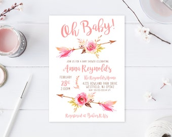 Oh Baby Shower Invitation, Baby Shower Invitation, Boho, Boho Shower Invites, Floral, Flower, Baby Shower Invites for Girls, Baby Girl [576]