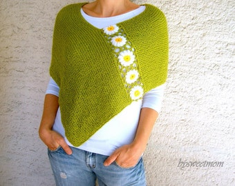 Green Poncho with Daisy Flowers, Wool Green Shawl Wrap, Holiday Fashion, Spring Poncho