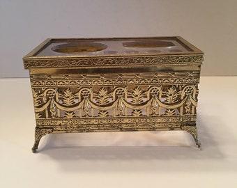 Vanity Box Set ~ Stylebuilt Accessories ~ Ormolu ~ Gold Metal Filigree ~ Toothbrush & Cup Holder ~ Hollywood Regency ~ Vintage
