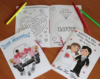 Wedding Coloring Activity Book, Kids Wedding coloring pages, Personalized pdf file