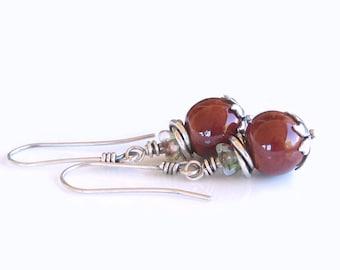 On Sale Red Ceramic Beads Sterling Silver Earrings Czech Glass Flower Beads Ceramic Earrings Boho Earrings Gift For Her