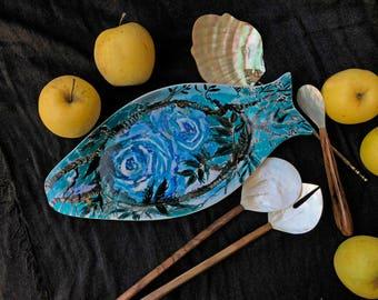 "Artist signet porcelain fish plate ""Turquoise Roses""  by Iryna Veshtak-Ostromenska, hand-painted unique piece"